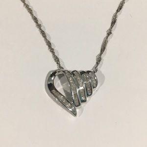 Jewelry - 14k White Gold Heart ❤️ Shape Diamond 💎 Pendant